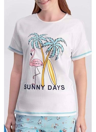 Arnetta Arnetta Sunny Days Sarı Kadın Şortlu Pijama Takımı Krem